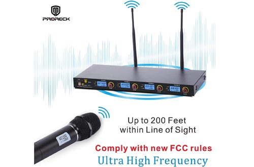 PRORECK MX44 4-Channel UHF Wireless Microphone System with 4 Hand-held Microphones Karaoke Machine for Party