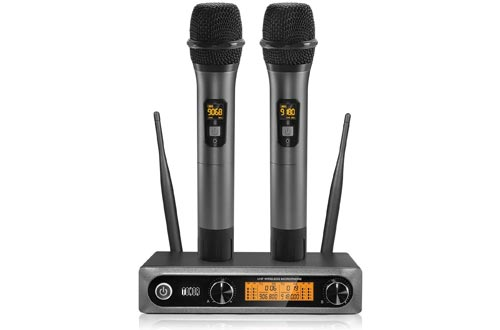 TONOR Wireless Microphone,Metal Dual Professional UHF Cordless Dynamic Mic Handheld Microphone System for Home Karaoke