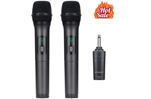 Kithouse K380A Wireless Microphone Karaoke Microphone Wireless Mic Dual With Rechargeable Bluetooth Receiver System Set - UHF Handheld Cordless Microphone
