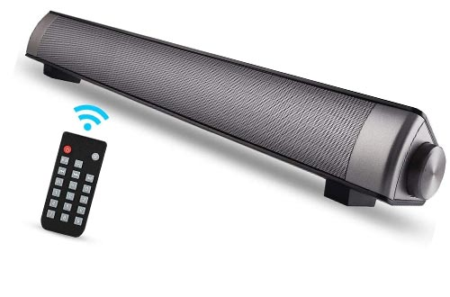 ASIYUN 2 X 5W Mini Bluetooth Sound Bar, Wired and Wireless Home Theater Audio for Cell Phone/Tablet/Projector and Support TV with AUX/RCA Output