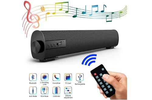 Portable Soundbar for TV/PC, Outdoor/Indoor Wired & Wireless Bluetooth Stereo Speaker with The Newest Remote Control