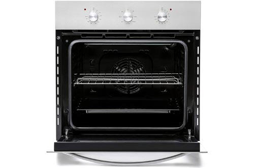 Empava Electric Single Wall Oven with 6 Cooking Functions Mechanical Knobs Control in Stainless Steel 24 Inch