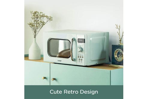 COMFEE' Retro Countertop Microwave Oven with Compact Size, Position-Memory Turntable, Sound On/Off Button, Child Safety Lock and ECO Mode