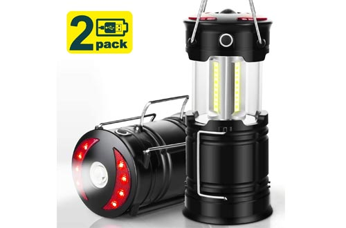 EZORKAS 2 Pack Camping Lanterns, Rechargeable Led Lanterns, Hurricane Lights with Flashlight and Magnet Base for Camping