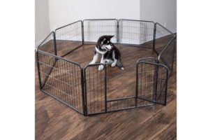 Wire Pen Dog Fence Playpen - Pet Dogs & Cats Outdoor Exercise Pens - Tube Gate w/Door - (8 Panel / 30 Square Feet Play Yard) Heavy Duty Portable Folding Metal Animal Cage Corral Tall Fences