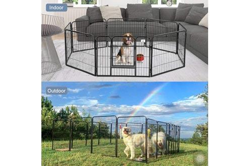 BestPet Pet Playpen 8 Panel Indoor Outdoor Folding Metal Protable Puppy Exercise Pen Dog Fence