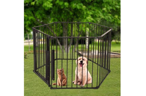 Pen Dog Fence Playpen   Foldable Pet Dogs & Cats Outdoor Exercise Pens,Portable Fence Barrier Kennel Puppy Cage Metal Exercise Playpen