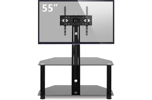 TAVR Glass Floor TV Stand with Swivel Mount and Height Adjustable for 32 37 42 47 50 55 inch Plasma Flat or Curved Screen TVs 2-Tier Tempered Glass Universal Media Storage Stand Black