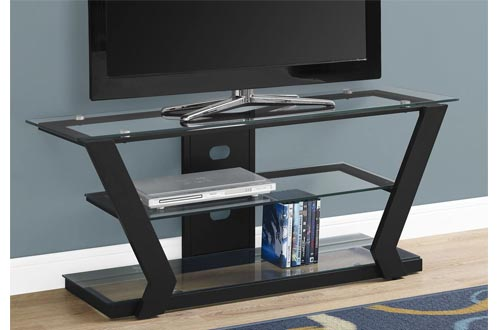 Monarch Specialties I Tv Stand-48 L Metal with Tempered Glass