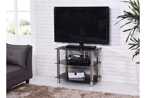 Hodedah Four Shelve Tempered Glass TV Stand