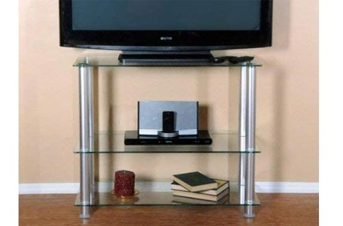 """RTA Home and Office Extra Tall Glass and Aluminum LCD and Plasma TV Stand for a 35"""" TV"""