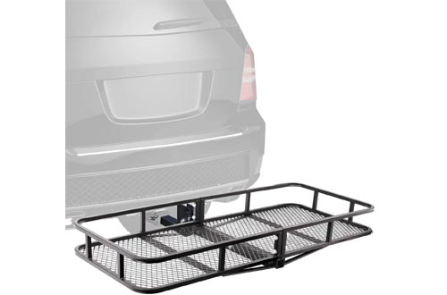 "XCAR Folding Hitch Mount Luggage Cargo Basket Trailer Cargo Carrier 60"" L x 24"" W x 6"" H Universal for Cars, Trucks, SUV's Hatchbacks with 2"" Hitch Receiver"