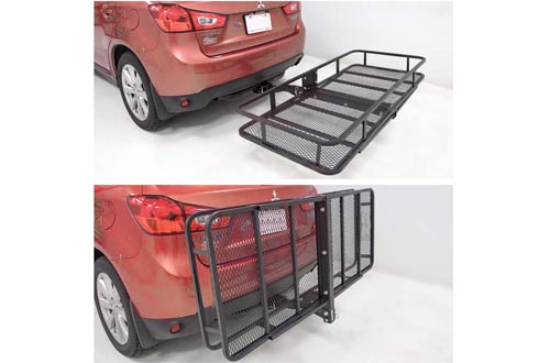 FieryRed Folding Cargo Carrier Luggage Basket - 500 lbs. Capacity Basket Trailer Hitch Cargo Carrier with Cargo Carrier Net & Hitch Stabilizer