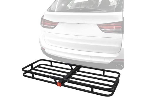 "F2C Universal 53"" x 19"" Hitch Mount Cargo Carrier Basket Rack Hauler Baggage Luggage Carrier Storage for SUV Camping Travel W/ 2"" Hitch Receiver"