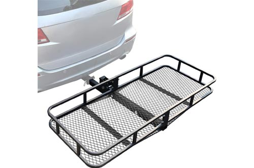 "Leadpro Hitch Mount Cargo Basket Folding Cargo Carrier Luggage Basket 60"" L x 24"" W x 6"" H with 500 LB Capacity Fits 2"" Receiver Universal for Cars"