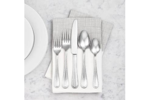 AmazonBasics 65-Piece Stainless Steel Flatware Silverware Set with Pearled Edge