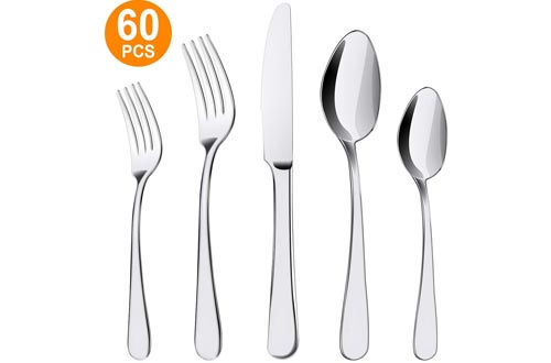 60-Piece Silverware Set, ENLOY Kitchen Stainless Steel Flatware Set, Utensil Set Cutlery Tableware for Restaurant and Home