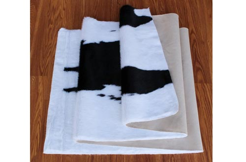Masada Rugs, Faux Fur Cowhide Area Rug Black White