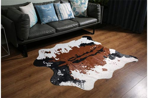 MustMat Brown Cow Print Rug Faux Cowhide Rugs