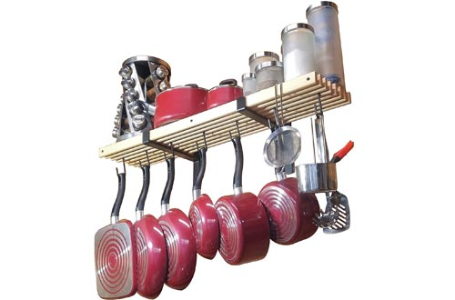 wooden wall mounted pot rack with 10 hooks