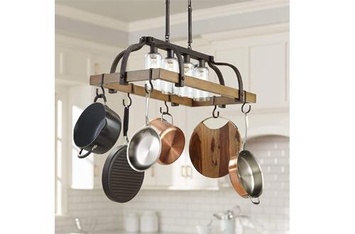 Eldrige Bronze Wood Pot Rack