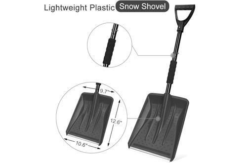 Detachable Snow Shovel with Durable Aluminum Edge Blade