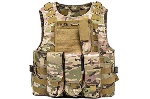 FixtureDisplays Tactical Molle Airsoft Vest Paintball Combat Soft Vest