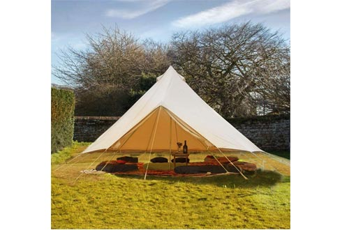 WINTENT 4 Season Cotton Canvas Bell Tent with Stove Hole and Electric Cable Hole