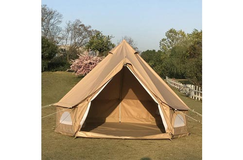 Dream House Diameter 3 Meter Waterproof Ripstop Polyester Cotton Plaid Cloth Tripod Frame Camping Bell Tent Central