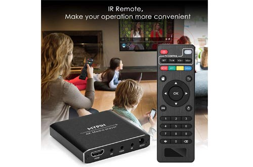 4K Media Player with Remote Control, Digital MP4 Player for 8TB HDD