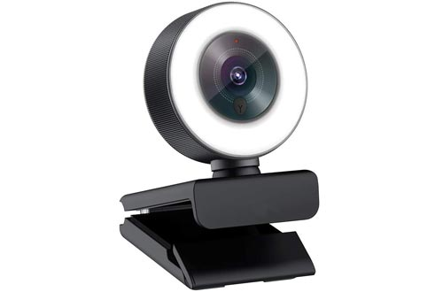 Angetube Streaming 1080P HD Webcam Built in Adjustable Ring Light and Mic