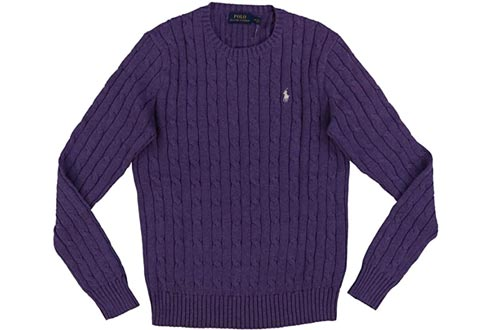 RALPH LAUREN Women's Crewneck Cable Knit Pony Logo Sweater