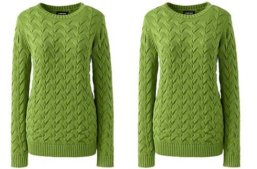 Lands' End Women's Cotton Cable Drifter Crewneck Sweater