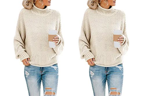 Saodimallsu Womens Turtleneck Oversized Sweaters