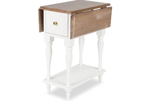 Kate and Laurel Sophia Drop Leaf End Table with 2 Drawers
