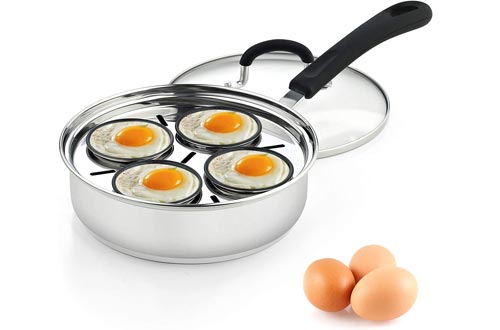 Cook N Home 4 Cup Stainless Steel Egg Poacher Pan