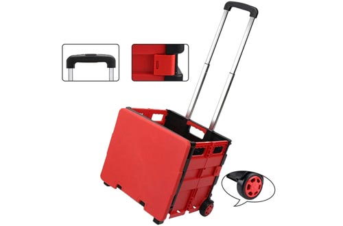 NUODUN Collapsible Handcart Rolling Utility Cart Folding Shopping Cart