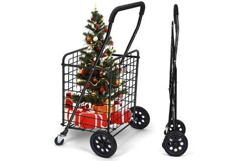 Pipishell Shopping Cart with Dual Swivel Wheels