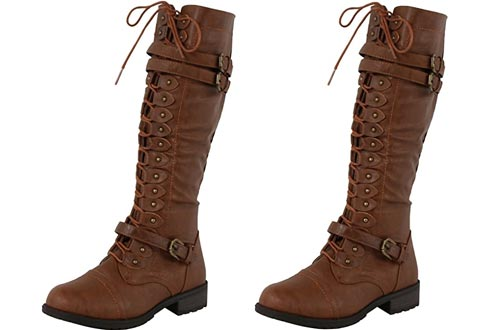 Wild Diva Timberly Women's Fashion Lace Up Buckle Knee High Combat Boots