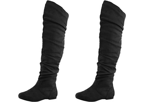 Nature Breeze Women's Vickie Hi Slouchy Over The Knee Boots