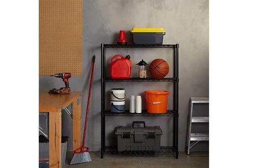 AmazonBasics 4-Shelf Adjustable, Heavy Duty Storage Shelving Unit