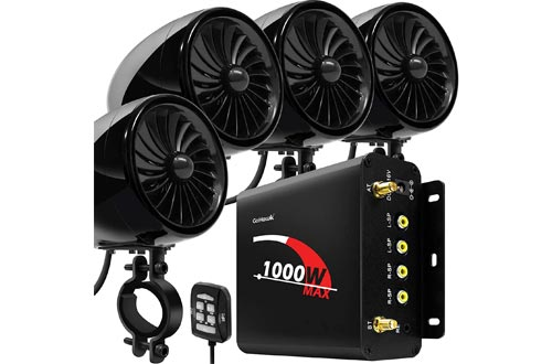 "GoHawk TJ4-Q 1000W 4 Channel Amplifier 4"" Full Range Waterproof Bluetooth Motorcycle Stereo Speakers"