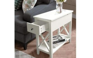 ChooChoo Narrow Side Table Slim End Table for Living Room Bedroom