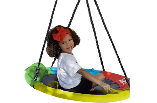 "Hazli 40"" Saucer Swing for Kids Outdoor with Straps"